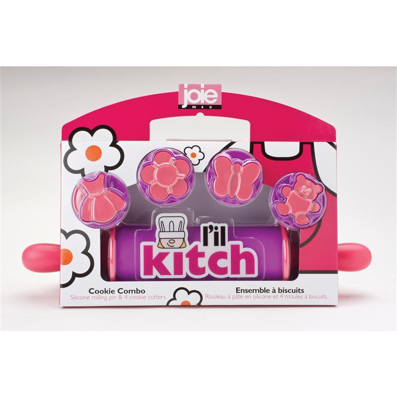 Joie L'il Kitch Rolling Pin w' 5 Cookie Cutters - Pink