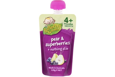 Raffertys Baby Food Pear and Superberries 120g