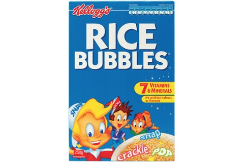Kelloggs Rice Bubbles Breakfast Cereal 250g