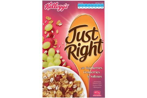 Kelloggs Just Right Goji Berries, Cranberries & Sultanas 460g - with Antioxidant Support